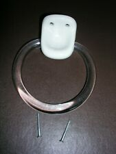 Cream/ivory ceramic holder with acrylic towel ring,wall mounted, screws included