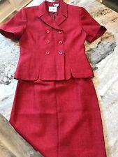 women's 6P Le Suit Top Skirt Suit Crimson Red Gorgeous