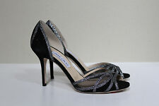 New sz 10 / 40 Jimmy Choo Mustique Black Satin Glitter Open Toe Sandal Shoes