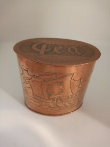 Vintage Antique arts and crafts Newlyn copper tea caddy signed Herbert Dyer