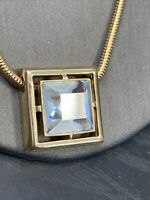 "Vintage Signed Avon Necklace Gold Tone Square Rhinestone sparkle Pendant 18"""