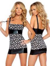 Sexy Clubwear Dancer Polyswirl Dress with Vinyl Trim, One Size, Black/White