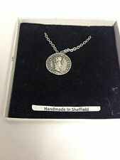 Tiberius WE-C3 Roman Coin  Emblem on Silver Platinum Plated Necklace 18""