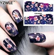 Pink Purple Flowers Nail Art Sticker Decal Decoration Manicure
