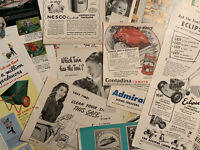 Vintage 1940's - 1960's Magazine Ephemera Advertisements Lot! 30+ Large Ads!