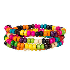 Wooden Beaded Coil Spring Wood Bead Bracelet With 2 Bells - Colorful Candy Color