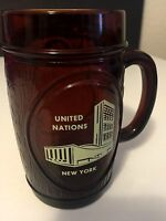 United Nations Cup Mug New York Brown glass NY 1970-80'S Rare Collectors