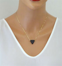 Natural Women Lava Stone Triangle Simple Black Pendant gemstone Necklace HOT