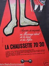PUBLICITÉ 1957 CHAUSSETTE 70/30 LAINE ET NYLON - DESSIN JEAN COLIN - ADVERTISING