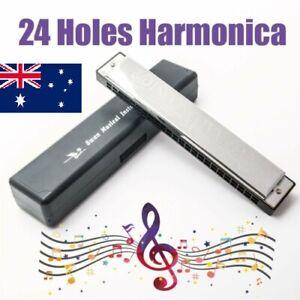 Silver Swan Tremolo 24 Holes 48 Tones Key of C blues Harmonica with box AU Ship