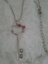 7eac3c6ef Hello Kitty Necklace & Pendant key silver ball adjustable chain pink  crystal bow