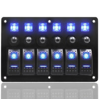 6 Gang LED Rocker Switch Panel Circuit Breaker 12/24V Boat Marine Waterproof New