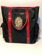 Ed Hardy Mermaid Print Black with Red Straps Tote Shoulder Hand Bag Purse 15x14