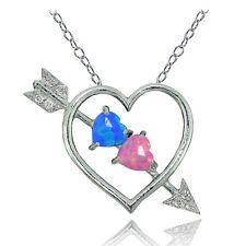 Sterling Silver Created Blue and Pink Opal & White Topaz Heart & Arrow Necklace