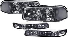 Smoke Tinted Headlight Clear Signal+Bumper for 99-06 GMC Yukon Sierra GMT800