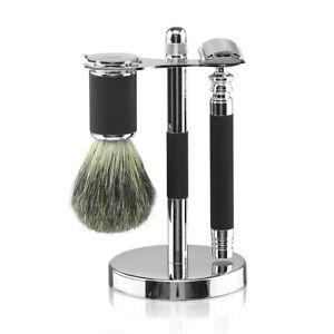 Van Der Hagen Knurled Knight Platinum Shave Set