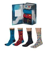 Mens Soft Bamboo Socks Arcade Designs Box of 4 Size 7-11 by Thought Socks