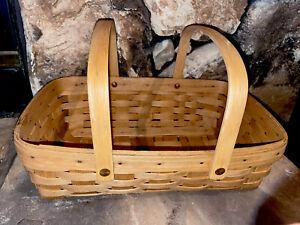 "1988 Longaberger Oblong Basket, Swing Handles, 14"" X 9-1/2""X 4"""
