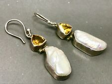 Beautiful Vintage Citrine & Baroque Pearl Drop Sterling Silver Earrings