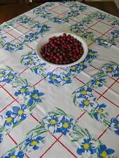 Vintage Cotton Print Tablecloth Wilendur Jonquil Narcissus? 49 X 54 Excellent