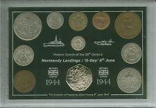 Día D la Normandía desembarques Segunda Guerra Mundial Veteranos Recuerdo Moneda Set De Regalo De 1944
