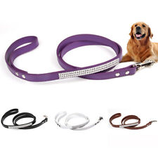 Obedience Dog Leash Pet Traction Rope Faux Leather Lead Strap for Collar Harness