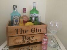 Vintage Design Gin Bar Wooden Box Crate Gift Bar Sign Storage Wedding Party