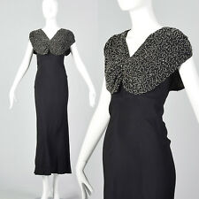 XXS 1930s Black Beaded Dress Long Fitted Clear Beads Vintage Slip On Sleeveless