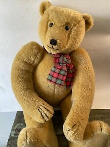 """Vintage English 23"""" Canterbury teddy Bear  Signed by artists on foot"""