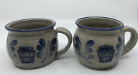 VTG Set of 2 Heinz 57 Soup Mug Pottery Stoneware  3 Cup Capacity Tan and Blue