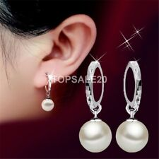 925 Sterling Silver Plated Hoop Charm Pearl Drop Dangle Earrings