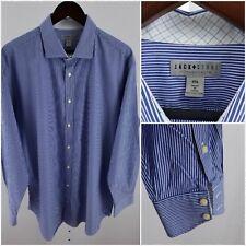 Jack Stone Men's 2XL Blue & White Striped Long Sleeve Button Front J-100