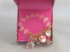 Betsey Johnson Rose Gold Pink Bead Owl Bird Charm Half Stretch Bracelet Boxed