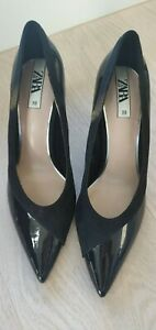 Zara Suede Patent Trim Black Heel 39