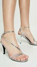 NIB Isabel Marant Arora Silver Leather Sandals Heels Sz IT 40