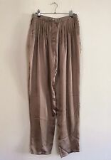 =LUXURY= LANVIN $920 Champaign Silk Satin Pleated Gathered Wide-Legged Pants US6