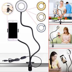 Selfie Flash Ring Light + Mobile Phone Holder 24 LED Camera Long Arm USB Clip On