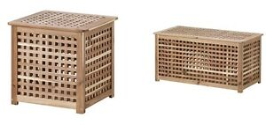 Ikea HOL Acacia Solid Wooden Storage Box/Laundry Basket/Side Table,Coffee Table