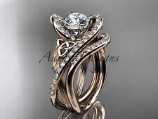 Irish Engagement Rings, 14k Rose Gold Ring, Celtic Bridal Ring Set CT7369S