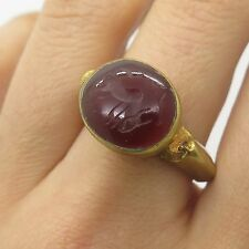 Antique Gold Filled Fashion Real Carnelian Gemstone Ring Size 6 3/4