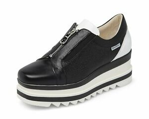 Marco Moreo Penelope Black-Patent & White Zip Up Wedge Trainers Size 7