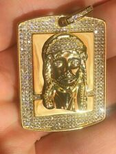 Mens Dog Tag Jesus Piece 1ct Simulated Diamond 14k Gold Over 925 Sterling Silver