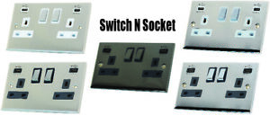 Decorative Metal Double Sockets with USB 13A DP Switched - Various finishes