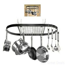 Pot and Pan Hanging Rack Hook Ceiling Mount Oval Wrought Iron Holder Cookware