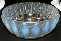 R. LALIQUE FRANCE SIGNED PERRUCHES OPALESCENT LARGE HEAVY ART GLASS BOWL 1931