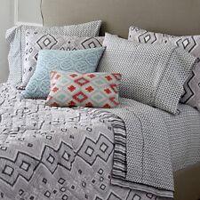 John Robshaw Ginah Queen Quilt 2 Pillow Shams Grey Lavender White