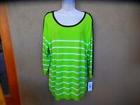 NWT Orig $49 Allison Daley Light Green Sweater w/Black Trim & White Stripes  1X