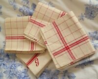 FRENCH LINEN RED CHECKED STRIPE TORCHON TEATOWELS TOWELS MONOGRAM JOBLOT x 4 P47