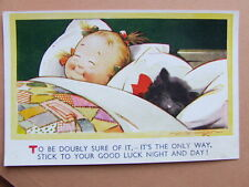 Kiddy in Bed With Kitten by Dan Tempest. Bamforth. 1960's.   (x9)