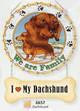 """ I Love My Dachshund "" Suncatcher ~ "" We Are Family "" Dog Glass Window Panel"